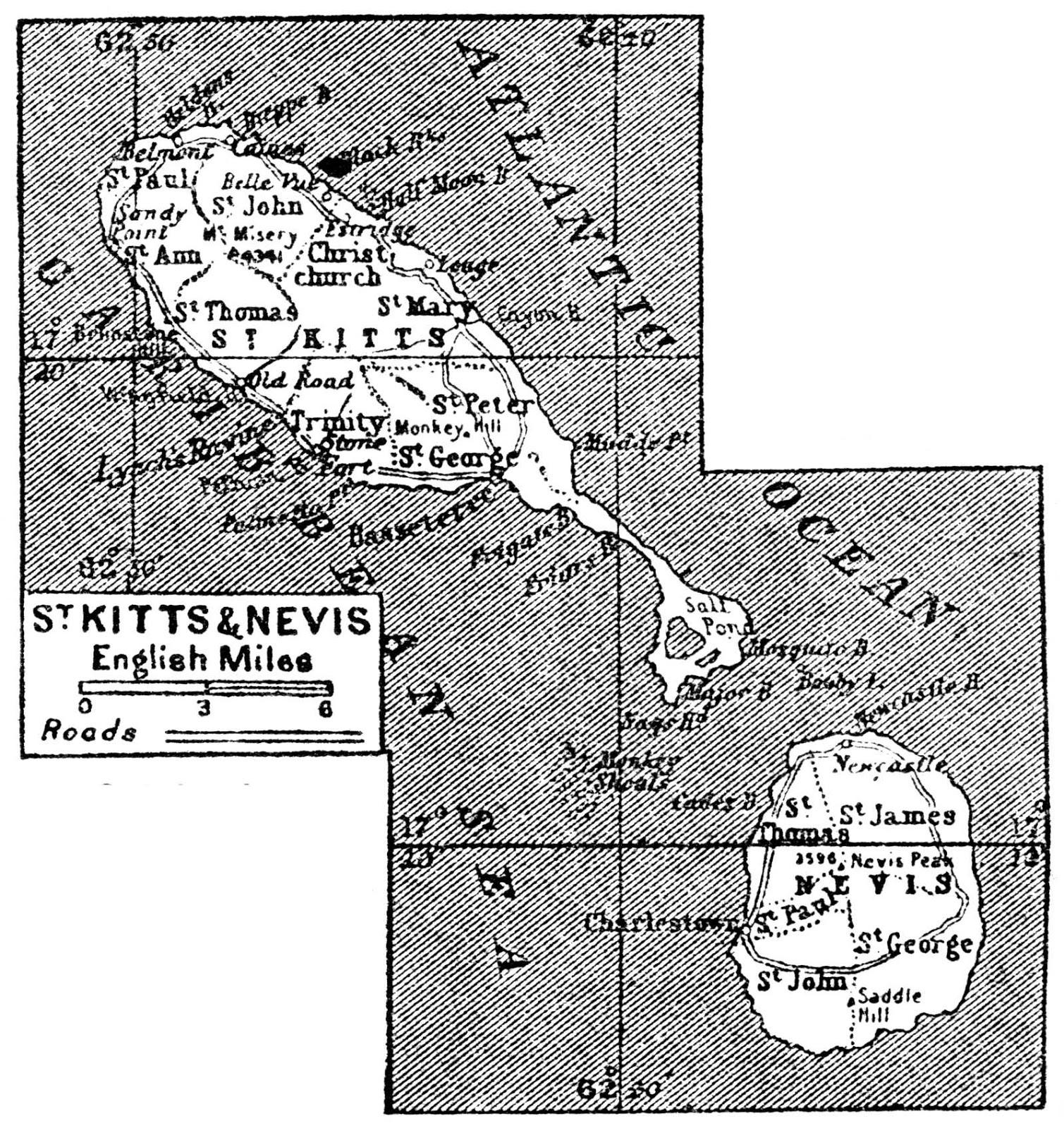 São Cristóvão e Nevis | Mapas Geográficos de São Cristóvão e Nevis