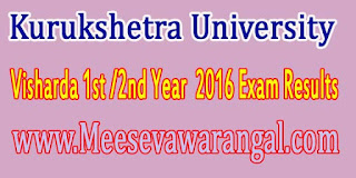 Kurukshetra University Visharda 1st /2nd Year  2016 Exam Results