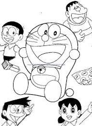 gambar komik Doraemon hitam putih