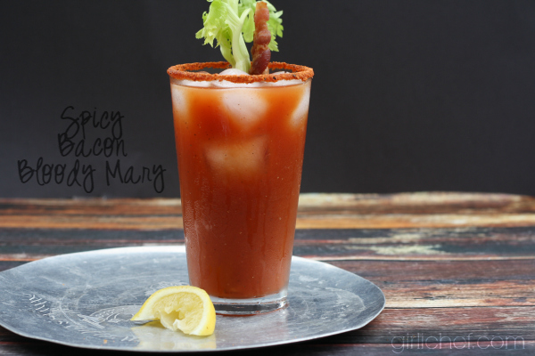Spicy Bacon Bloody Mary + Bacon-infused Vodka #BaconMonth #putsomepiginit