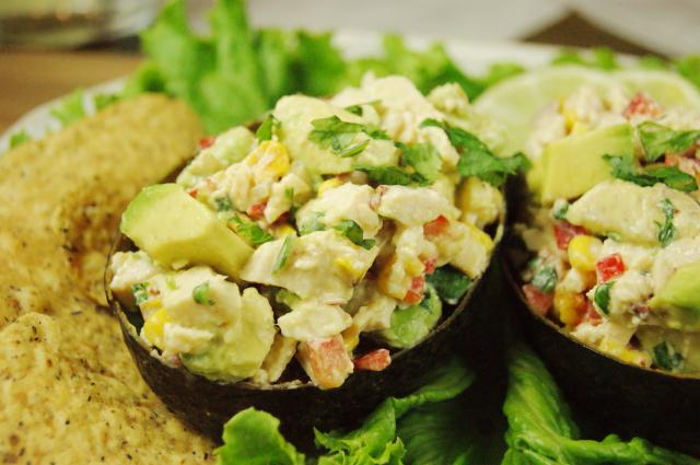 Roasted Corn & Avocado Chicken Salad