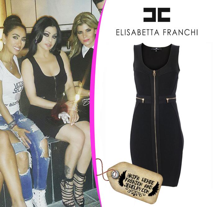 64d21b1b009d Haifa Wehbe Wearing Black Zipper Knit Dress by Elisabetta Franchi