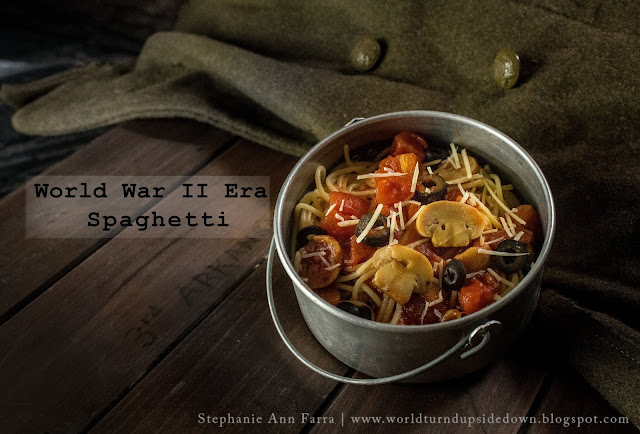 WWII Spaghetti Recipe Mushrooms Olives 1944