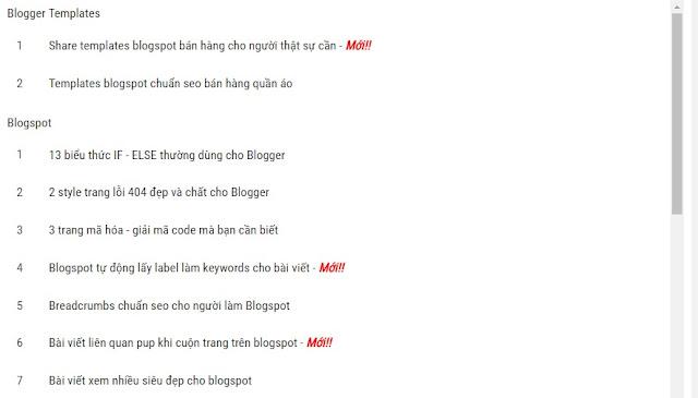 Sitemap cho blogspot ở trang tĩnh đơn giản đẹp