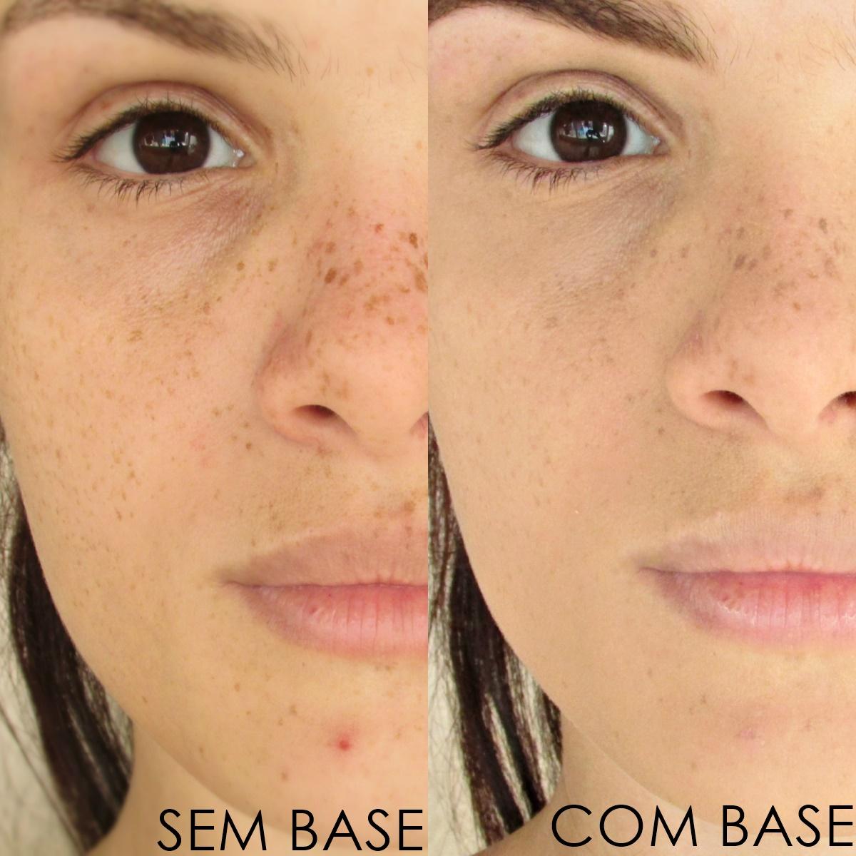 Resultado com antes e depois da Base Matte e Vegana da Dalla MakeUp