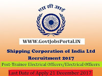 Shipping Corporation India Recruitment 20117– 50 Trainee Electrical Officers/Electrical Officers