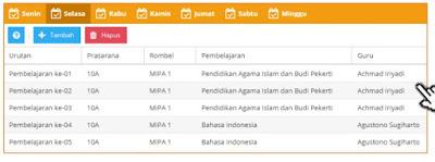 Pengisian jadwal mata pelajaran Pendidikan Agama Dapodik 2019