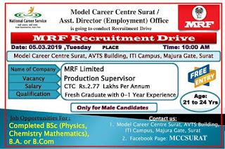 MRF कंपनी में कार्य करने का सुनहरा अवसर....वेकेंसी : प्रोडक्शन सुपरवाइजर आईटीआई केम्पस मजुरागेट सूरत में MRF कंपनी के लिए इंटरव्यू रखा गया है.