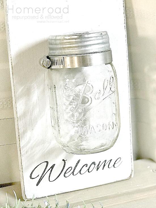 cutting board with stencil and mason jar