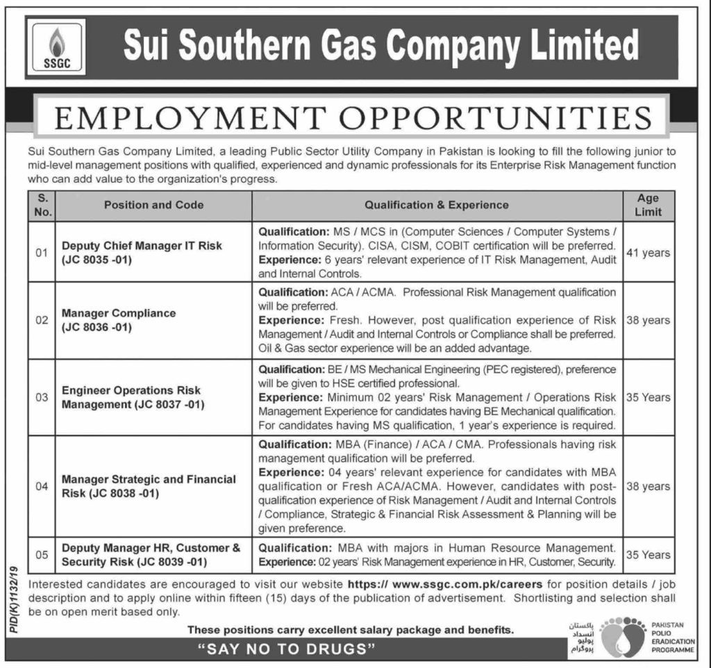 Sui Southern Gas Company Limited SSGC Jobs October 2019