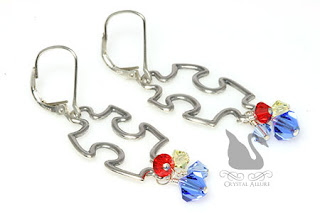 Crystal Puzzle Piece Autism Awareness Earrings (E290)