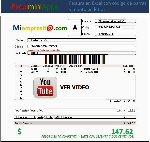 Mini Aplicaciones En Excel Factura En Excel Con Código De Barras Y Monto En Letras