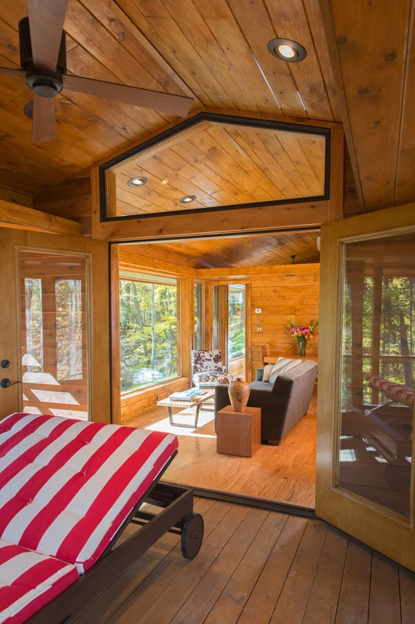 Not only is the cabin made of extremely high quality materials (featuring cedar lap siding, LED lighting, Energy Star appliances and much more), but you never know how small it is thanks to the brilliant design.