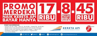 Tiket KAI Promo Merdeka Dalam Rangka HUT RI ke 71