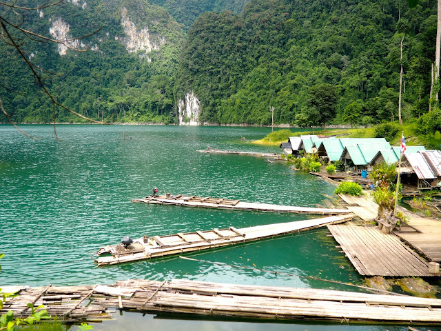 Bamboo rafts near Cheow Lan Lake, Khao Sok National Park, Thailand