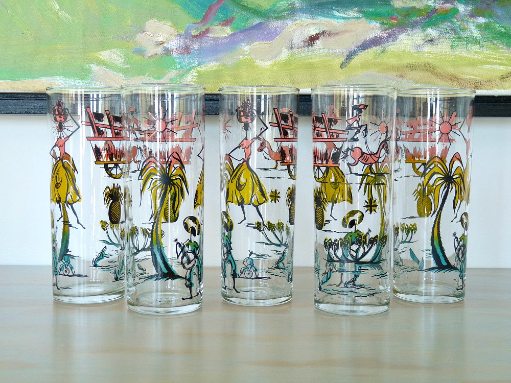 Carribean Themed Vintage Pink, Yellow, Aqua High Ball Glasses // Minden Shop // Etsy