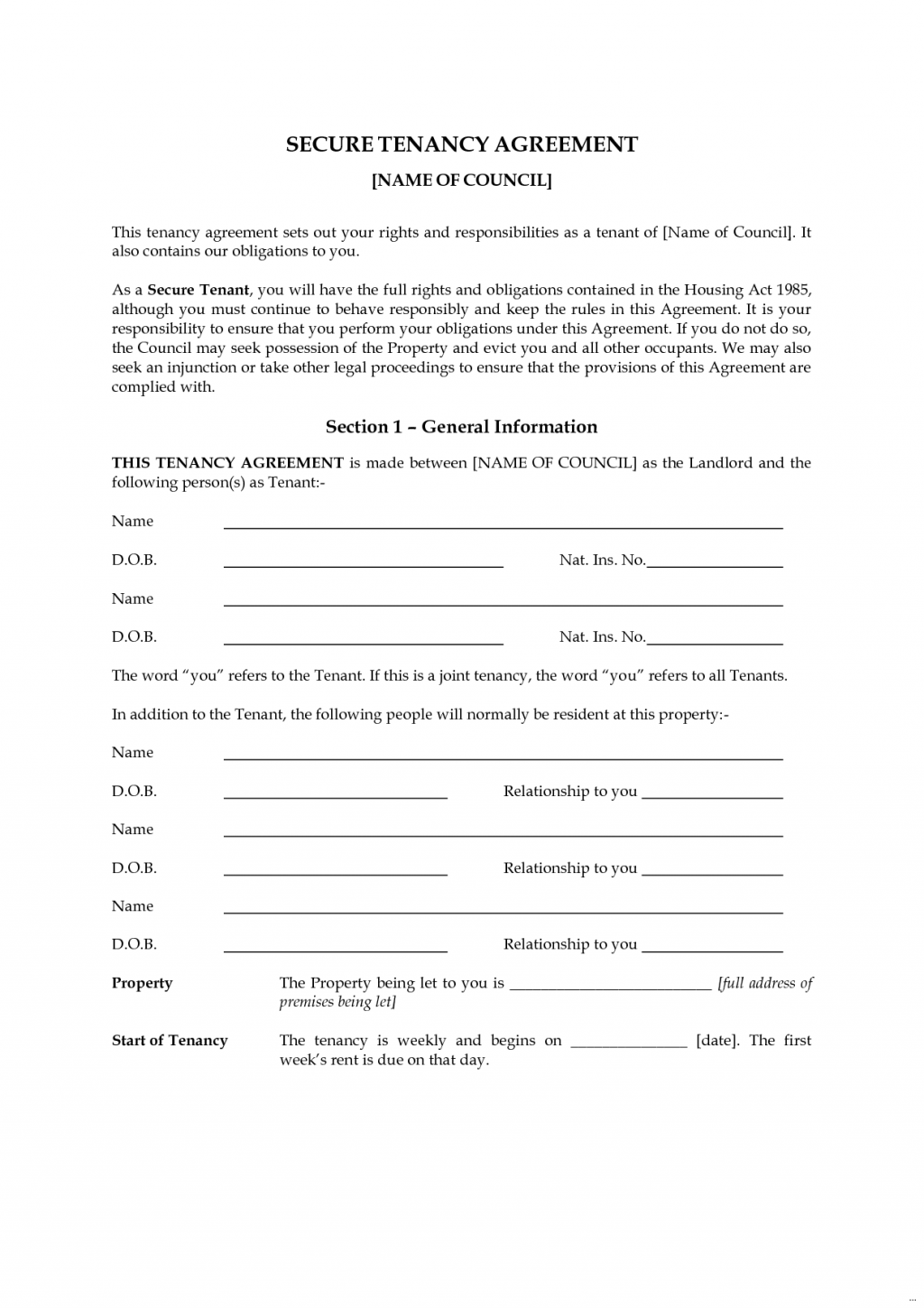 Tenancy Agreement Templates In Word Format Excel Template