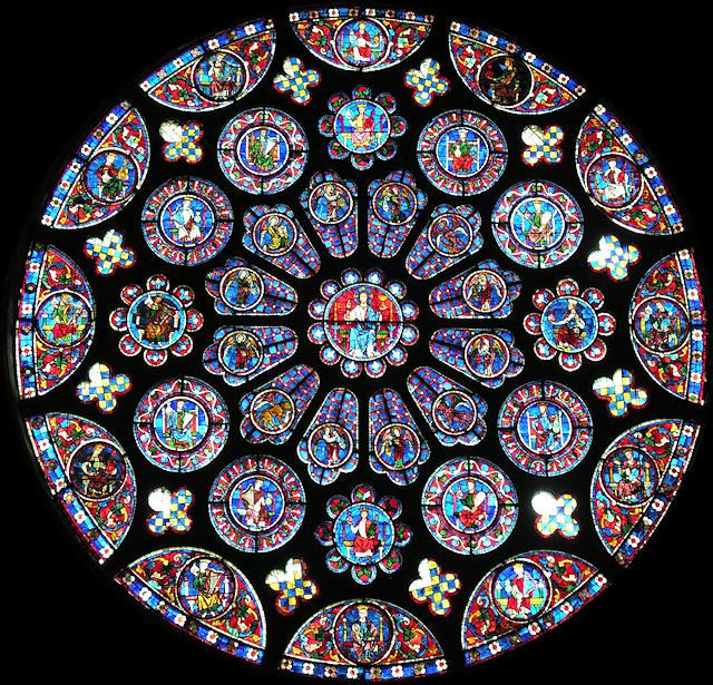 Rosácea lateral da catedral de Chartres: resumo da ordem do Universo