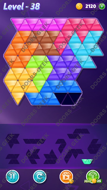 Block! Triangle Puzzle Master Level 38 Solution, Cheats, Walkthrough for Android, iPhone, iPad and iPod