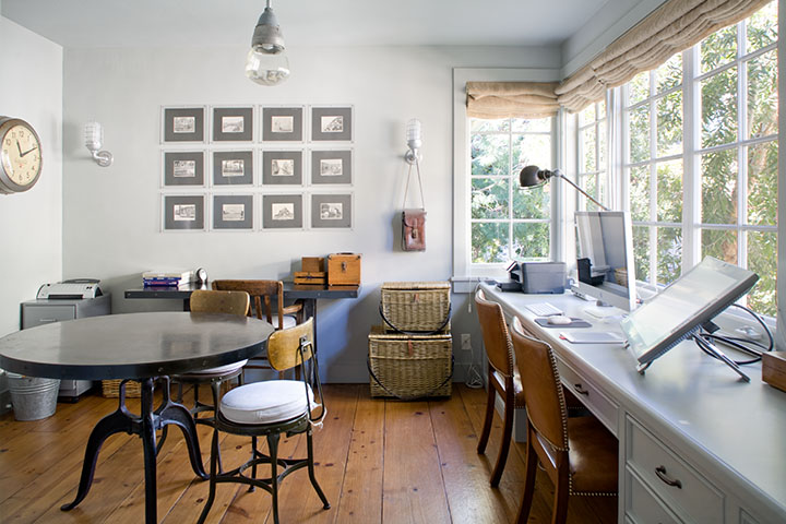 Casual European inspired farmhouse interior children's study Giannetti Home