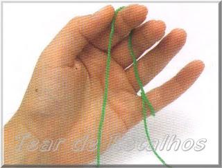 Foto mostrando uma pessoa destra segurando o fio de crochê com a mão esquerda não dominante