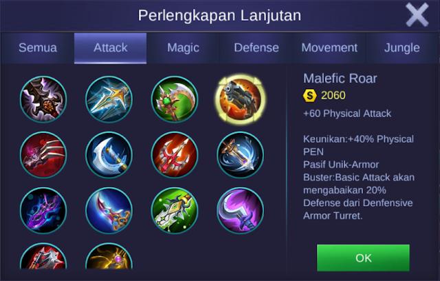 item malefic roar mobile legends bang bangs