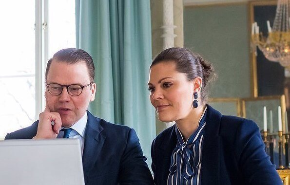 Crown Princess Victoria wore Tiger of Sweden Molena blazer, Gant Vertical striped bow blouse, Ebba Brahe Duchess earrings