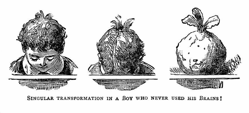 "an 1800s cartoon about school, ""Singular transformation in a boy who never used his brains!"""