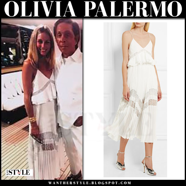 Olivia Palermo in white lace midi dress self portrait amelie what she wore greece yacht