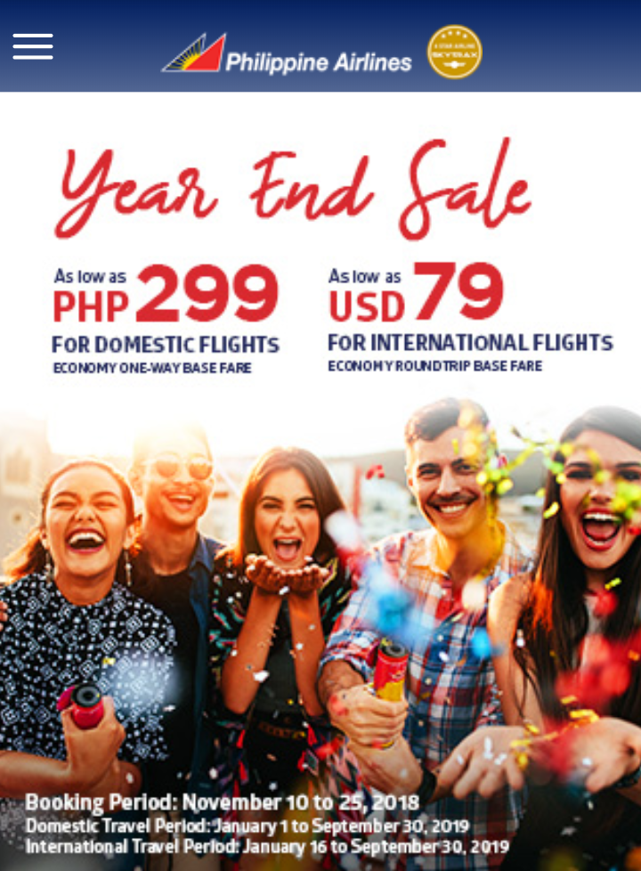 299php Domestic and 79USD International Fare Sale - Philippine Airlines PH