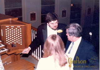 Carlo discussing organ with Larry Phelps at Our Lady Of Mount Carmel