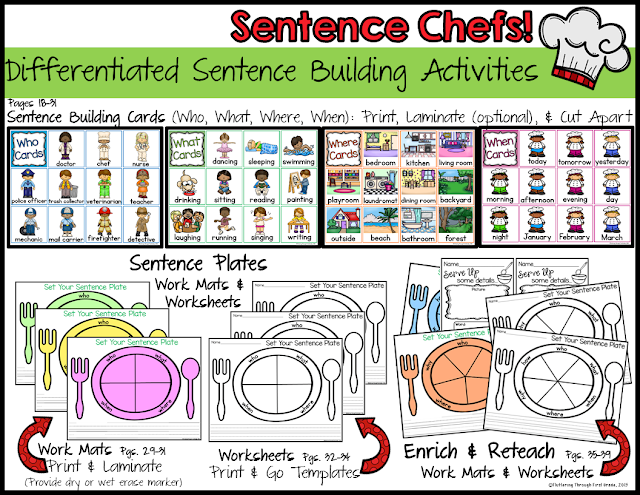 Sentence Chefs Differentiated sentence building activities for developing writers