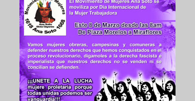 Comunicado del Mov. de mujeres Ana Soto en el día de la mujer proletaria