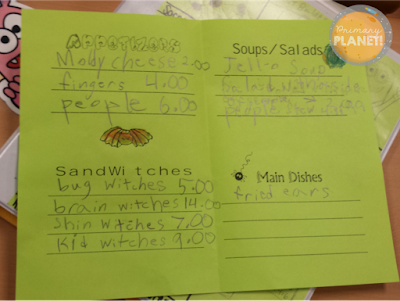 Example of a student's Monster Menu!