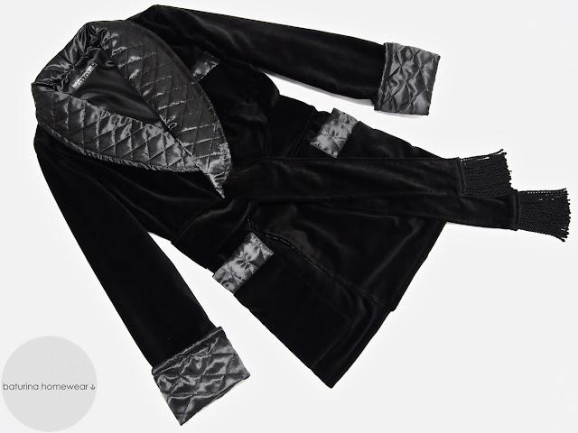 Mens quilted silk smoking jacket black velvet robe