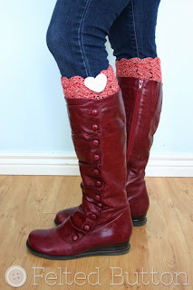 I Heart Boot Cuffs Free Crochet Pattern by Susan Carlson of Felted Button