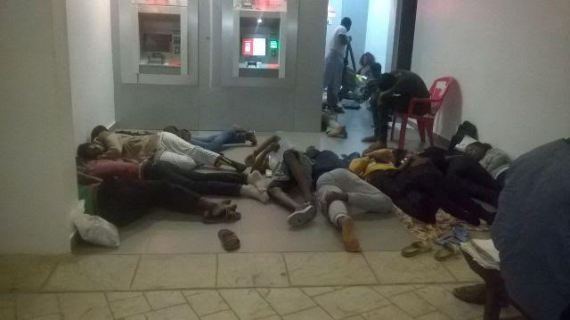 0 Photos: UNILAG students sleep outside in the rain
