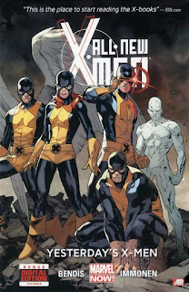 All-New X-Men Volume One Yesterday's X-Men Brian Michael Bendis Stuart Immonen Wade Von Grawbadger Marte Gracia time-displaced original X-Men Angel Warren Worthington III Jean Grey Marvel Girl Cyclops Scott Summers Beast Hank McCoy Iceman Bobby Drake this is the place to start reading the X-books ign.com bonus digital edition included AR Augmented Reality Marvel cover hardcover hc comic book