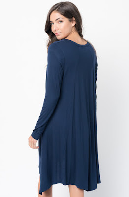 Buy Now Navy Back Raglan Draped Dress Online $38 -@caralase.com