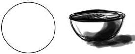 Menggambar Mangkok dari Lingkaran sebagai media latihan teknik dasar menggambar