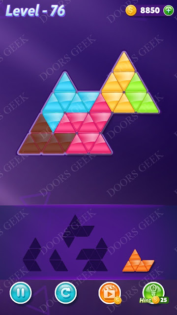 Block! Triangle Puzzle 5 Mania Level 76 Solution, Cheats, Walkthrough for Android, iPhone, iPad and iPod