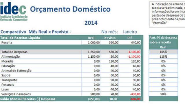 Planilha de Orçamento Doméstico contendo as receitas e despesas