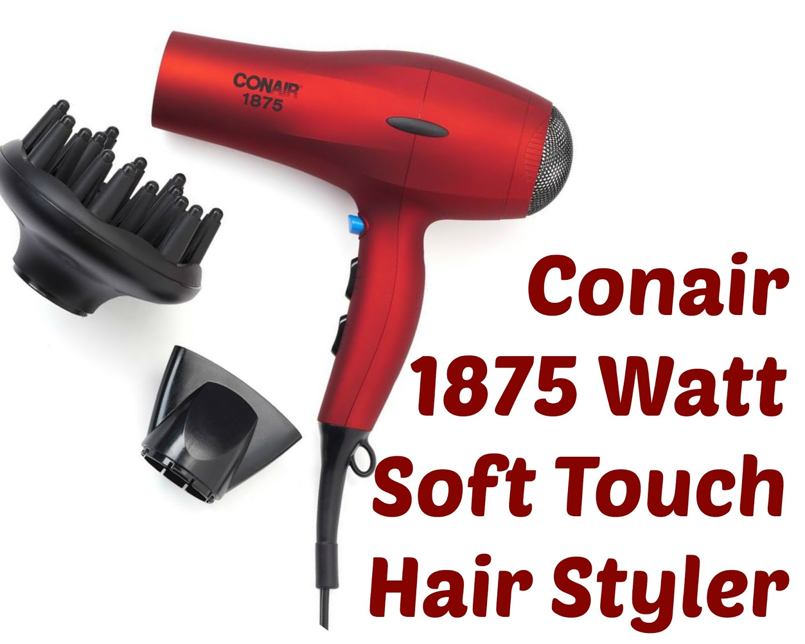 Click here to buy the Conair 1875 Watt Soft Touch Hair Styler for an inexpensive yet powerful hair dryer for natural hair