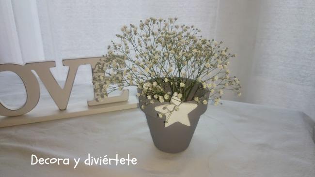 DIY , maceta pintada , centro de mesa , paniculata , decoración mesas