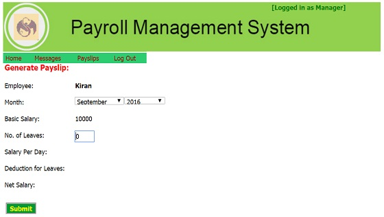 Manager Module - Payroll Management System Project in Asp.Net