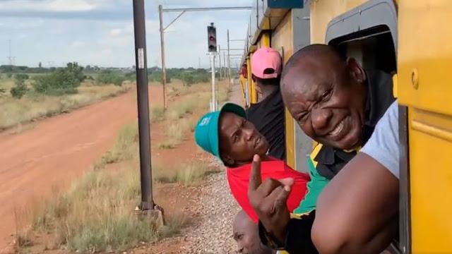 Cyril Ramaphosa Gets Stuck On The Train