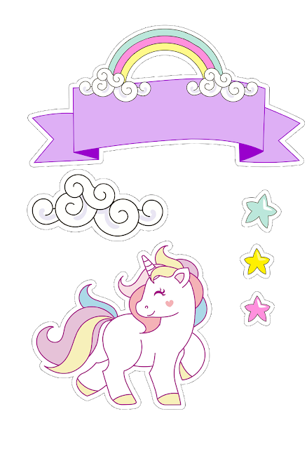 Free Printable Unicorn Cake Toppers.