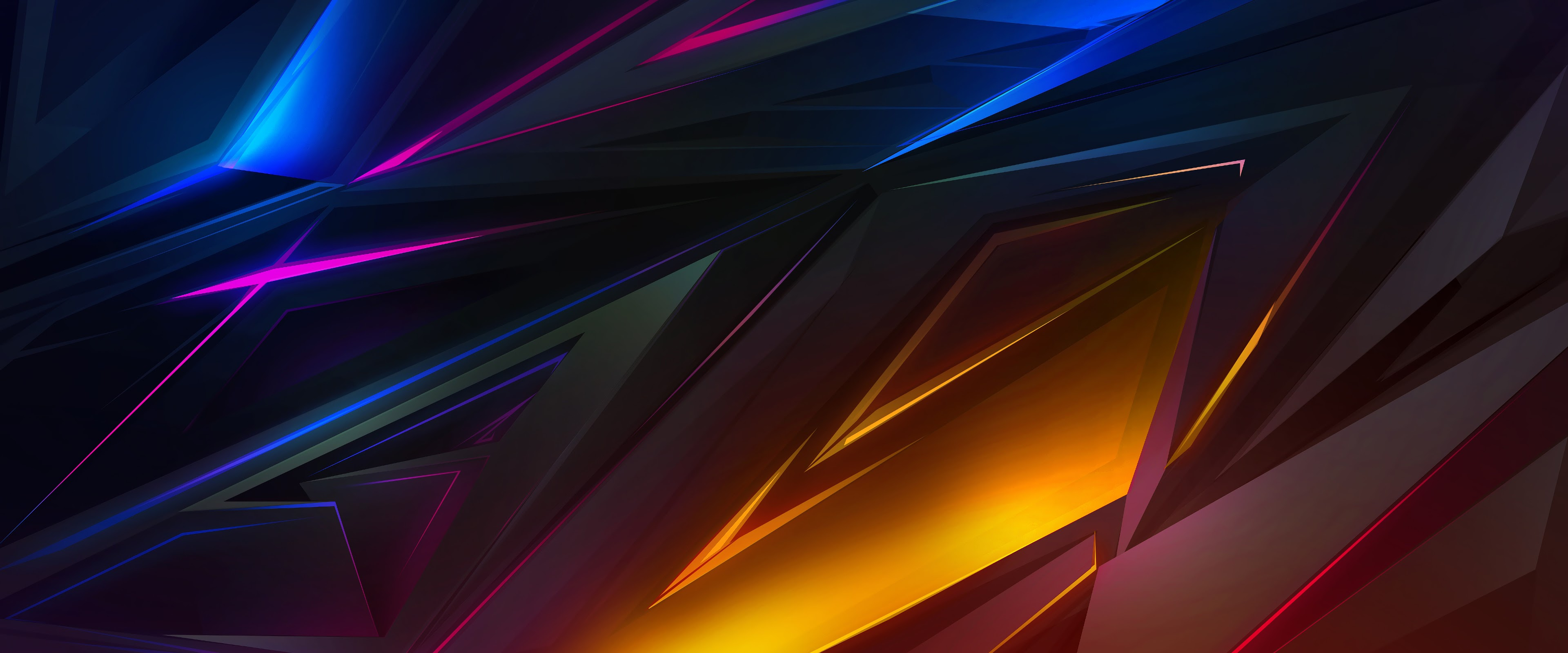 Colorful Dark Abstract Polygon 3d 4k Wallpaper 39