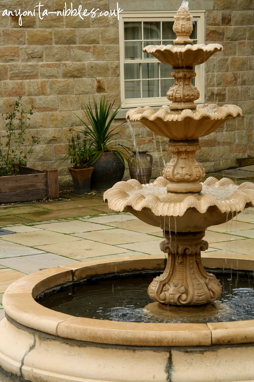 Fountains in the courtyard of Ox Pasture Hall Hotel | Anyonita-nibbles.co.uk