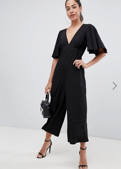 asos design tea jumpsuit with empire seam and flutter sleeve